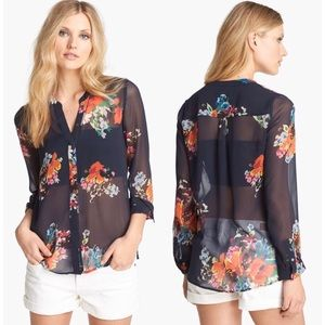 JOIE Silk Floral Devitri Long Sleeve Button Up Top